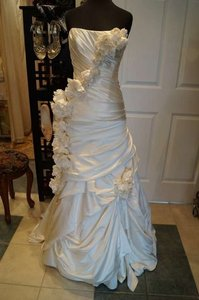 Pnina Tornai Ivory Satin Gown Formal Wedding Dress Size 4 (S)