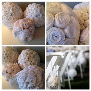 White/ Cream Hanging Rose Balls Reception Decoration