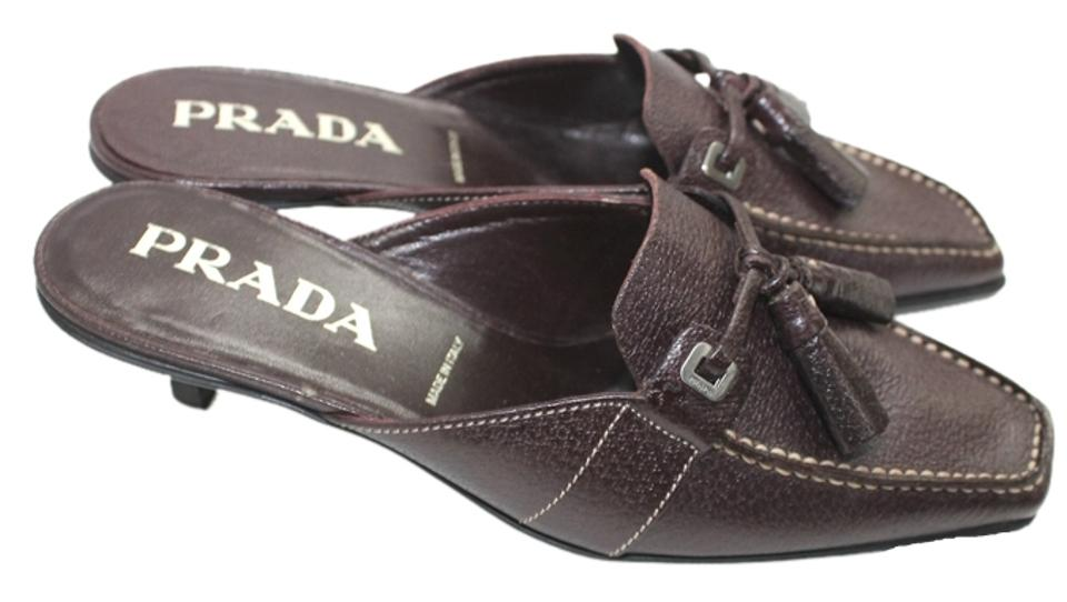 LADY Prada Dark Brown Mules/Slides Leather Mules/Slides Brown economy eed4d0