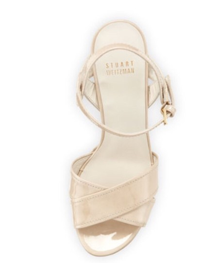 Stuart Weitzman Patent Leather Crisscross Strap Moon glow Sandals