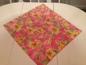 Pink Green Multi-color Floral Overlays (12) Tablecloth