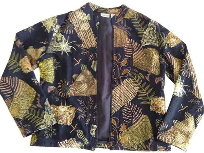 Chico's Chico Embroidery Embroidered Black and Gold Jacket
