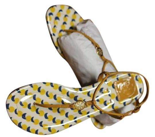 Tory Burch Flats Leather Cute Yellow Sandals