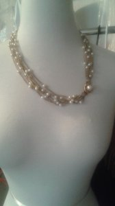 Vintage 6 Strand Pearl Necklace With Gold Chain