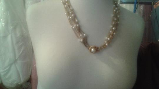 Pearls with Gold Chains Vintage 6 Strand Necklace