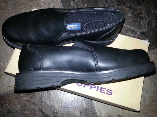 Hush Puppies Leather Steel Toe Safety Black Flats