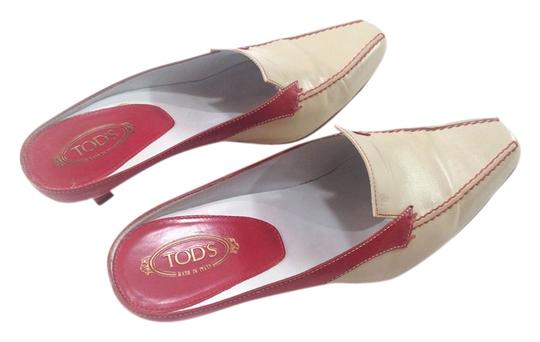 Tod's Size 6 Beige/ Red Mules