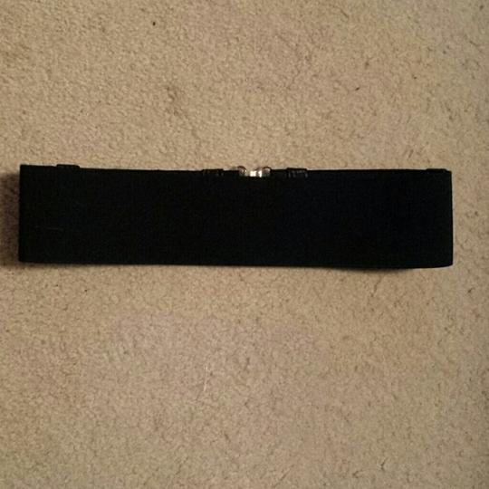 Forever 21 Black stretch belt with ruffled front and gold buckle. Size S/M.