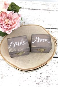 Not Rated Wood Grain Rustic Bride & Groom Boxes Ring Bearer Pillow