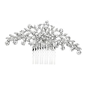 Mariell Silver Popular Crystal Or Prom Comb with Shimmering Leaves 4190hc-s Tiara