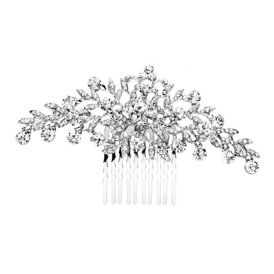 Mariell Popular Crystal Wedding Or Prom Comb With Shimmering Leaves 4190hc-s