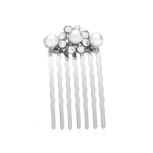 Mariell Silver Petite Or Prom Hair Comb with Crystal Clusters 4220hc Tiara