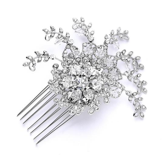 Mariell Silver Top Selling Prom Or Crystal Spray Comb 4028hc-s Tiara
