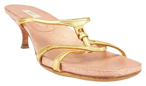 Prada Leather Pink Paisley Kitten Heels Heels Strappy Hardware Buckle Gold Sandals