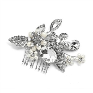 Mariell Silver Vintage Statement Comb In Antique Rhodium with Bold Oval Crystal and Freshwater Pearls 4002hc Tiara