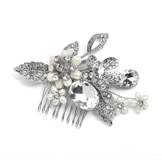 Mariell Silver Vintage Statement Comb In Antique Rhodium with Bold Oval Crystal and Freshwater 4002hc Tiara