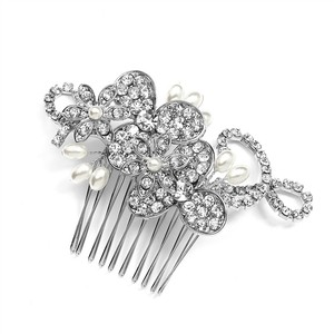 Mariell Antique Floral Bridal Comb With Freshwater Pearl Sprays & Graceful Rhinestone Vines 4004hc