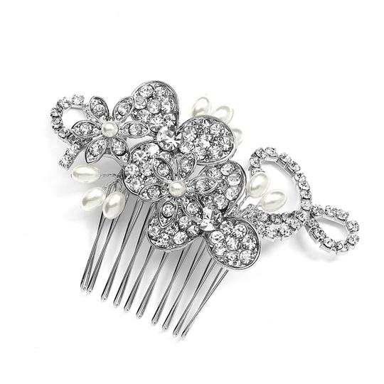 Mariell Silver Antique Floral Comb with Freshwater Pearl Sprays Graceful Rhinestone Vines 4004hc Tiara