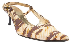 Dolce&Gabbana Multi Color Slingbacks Heels Fabric Print Brown Formal
