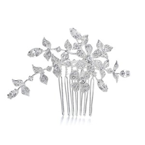 Mariell Silver Or Comb/Brooch with Crystal Garden 1073h-s Tiara