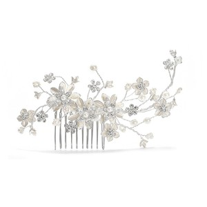 Mariell Pearl And Crystal Bridal Comb With Soft Rum 241h