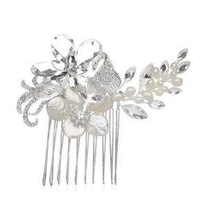 Mariell Crystal Bridal Comb With Freshwater Spray 3306hc