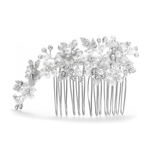 Mariell Brushed Silver And White Pearl Wedding Comb H001-w-s