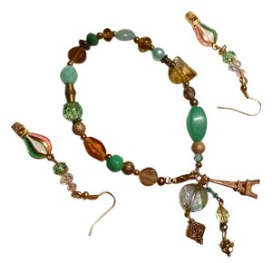 New Handmade Gemstone Charm Bracelet & Earrings Set Hot Air Balloons J932