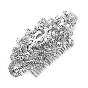 Mariell Regal Vintage Bridal Comb With Bold Crystal Center 3875hc