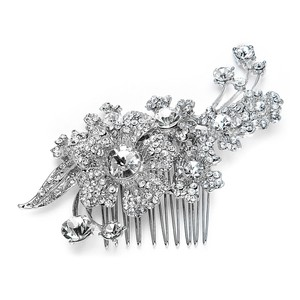Mariell Silver Or Prom Hair Comb with Austrian Crystal Flowers 3879hc Tiara