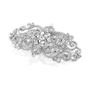 Mariell Silver Glamorous Bold Scrolls Or Prom Hair Comb with Crystals 4024hc Tiara