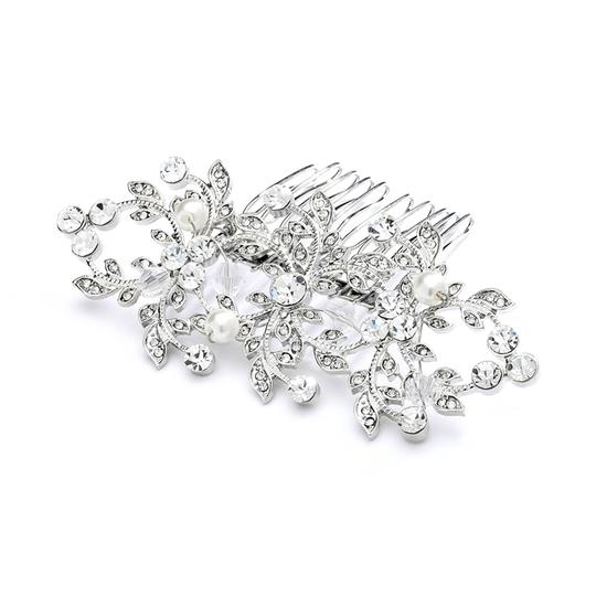 Mariell Silver Antique Or Hair Comb with Crystals and Pearls 4043hc Tiara