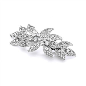 Mariell Vintage Leaves Filigree Crystal Wedding Or Prom Hair Barrette 4046hb