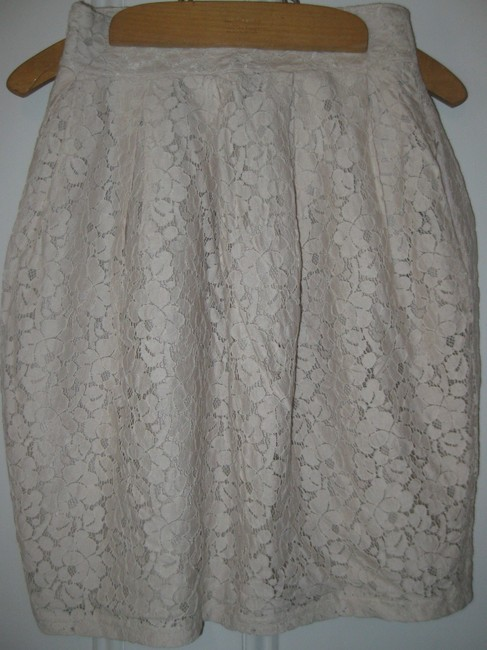 H&M Lace Lined Skirt Cream