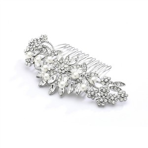 Mariell Pearl Crystal & Lucite Sunburst Wedding Or Prom Comb 4047hc