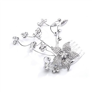 Mariell Crystal Floral Wedding Or Prom Hair Comb With Silver Vine 4051hc