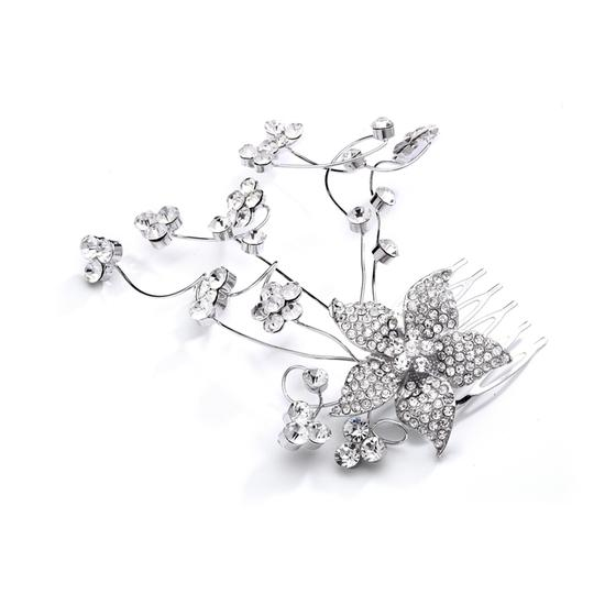 Mariell Silver Crystal Floral Or Prom Hair Comb with Vine 4051hc Tiara