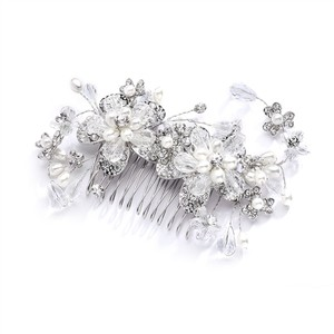 Mariell Silver Fabulous Or Hair Comb with Pearl and Crystal Sprays 4071hc Tiara