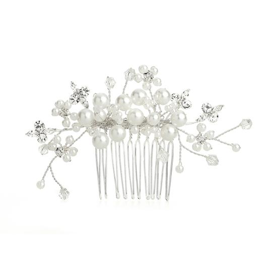 Mariell Bold White Pearl Clusters Bridal Comb With Crystal Sprays 4162hc