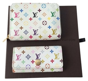 Louis Vuitton LV multicolor zippy coin purse and multicolor key holder.