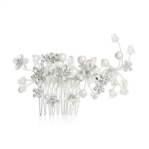 Mariell Crystal/Pearl Flower Garden Hair Comb with Freshwater Vines 4167hc Tiara