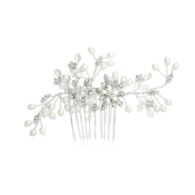 Item - Crystal/Pearl Freshwater Hair Comb with Pave Leaves 4168hc Tiara
