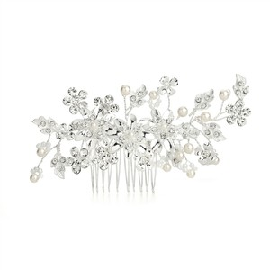 Mariell Bridal Hair Comb With Ivory Pearls & Crystal Floral Sprays 4169hc