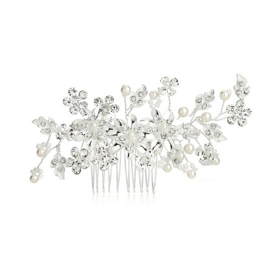 Mariell Ivory/Crystal Hair Comb with Pearls Floral Sprays 4169hc Tiara