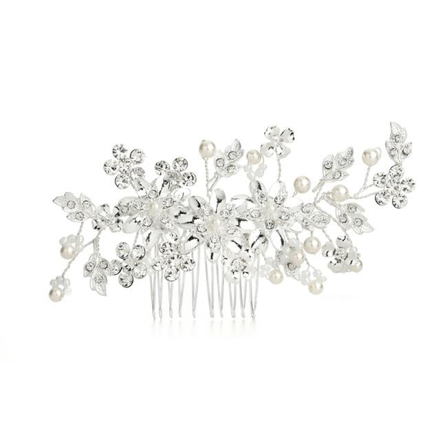 Item - Ivory/Crystal Hair Comb with Pearls Floral Sprays 4169hc Tiara