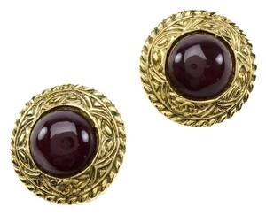 Chanel Chanel Vintage Red Round Earrings
