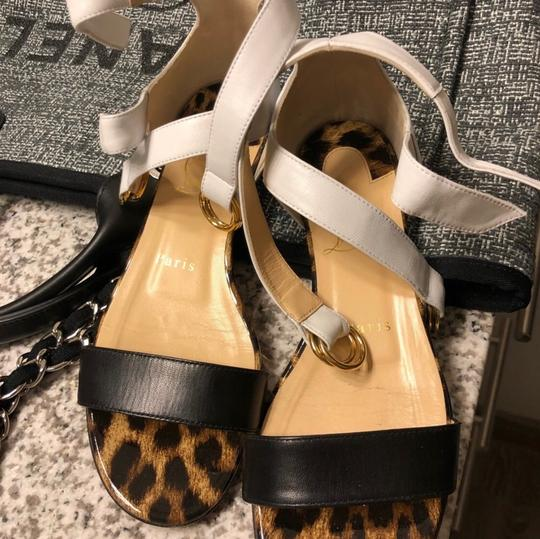 Christian Louboutin White & Leopard Sandals
