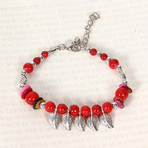 Tibet Silver Red Turquoise Beaded Feather Bracelet Free Shipping