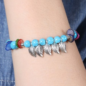 Native Design Tibet Silver Feather Turquoise Bracelet Free Shipping