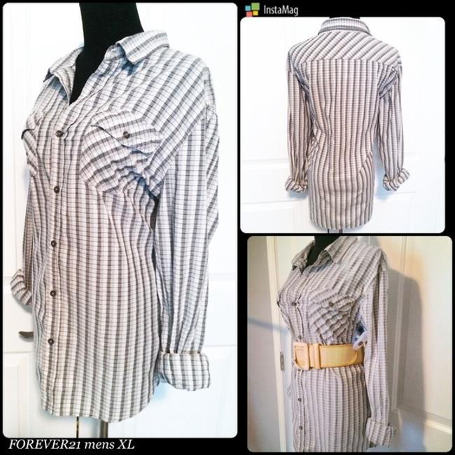 Forever 21 short dress Black/White/Grey Striped 21 Plaid Shirt Button Down Summer Short Tops Button Downs on Tradesy